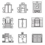 Czarne konturowe ikony dla drzwi royalty ilustracja