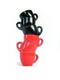 czarne kubki czerwone Zdjęcie Royalty Free
