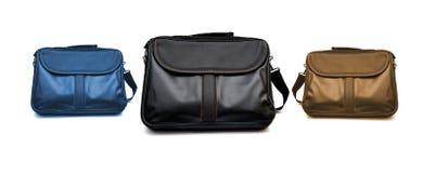 Czarne laptopu kocowania torby na białym tle Obrazy Royalty Free