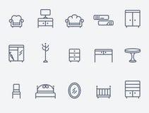 czarne meblarskie ikony linii white proste royalty ilustracja