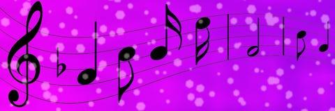 Czarne muzyk notatki w Purpurowym i Fiołkowym sztandaru tle royalty ilustracja