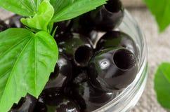 Czarne oliwki, dołkowaty marynowany w szklanym pucharze obraz stock