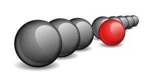 Czarne piłki z jeden czerwoną balową pozycją naprzód ilustracji