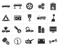 Czarne samochodowe transport ikony i usługa ilustracja wektor