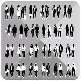 Czarne sylwetki pary, kobieta, mężczyzna royalty ilustracja