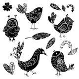 Czarne sylwetki ptak i kwiatu doodle set ilustracja wektor