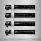 Czarne zakładki z glansowanym sercem Nowożytni wektorowi projektów elementy Obrazy Royalty Free