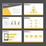 Czarnego żółtego Infographic elementów ikony prezentaci szablonu płaski projekt ustawia dla reklamowej marketingowej broszurki ul Obraz Stock