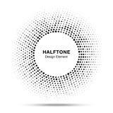 Czarnego abstrakcjonistycznego wektorowego okrąg ramy halftone kropek loga przypadkowy emblemat Obrazy Stock