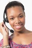 Czarnego centrum telefonicznego faktorska rozmowa klient Obraz Royalty Free
