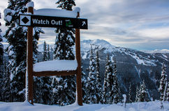 Czarnego diamentu narciarski ślad przy Whistler obrazy royalty free