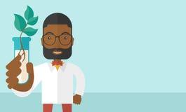 Czarnego faceta chemik z tubki i eco liśćmi ilustracji