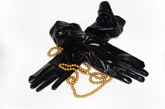 Czarnego fetysza PVC winylowe rękawiczki z koralikami Obraz Royalty Free