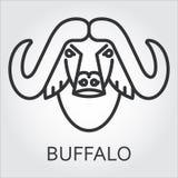 Czarnego ikona stylu kreskowa sztuka, kierowniczy dzikie zwierzę bizon, byk Fotografia Stock