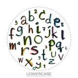Czarnego kolorowego abecadła lowercase listy Ręka rysujący pisać dowcip ilustracja wektor