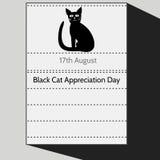 Czarnego kota docenienia dzień Fotografia Royalty Free