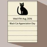 Czarnego kota docenienia dzień - kalendarzowy list Obrazy Stock