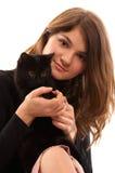 czarnego kota, dziewczyno Fotografia Royalty Free