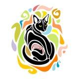 Czarnego kota Wektorowy Dekoracyjny graficzny projekt Obraz Stock
