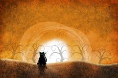 Czarnego kota zmierzch royalty ilustracja