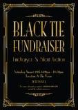 Czarnego krawata fundraiser art deco tło royalty ilustracja