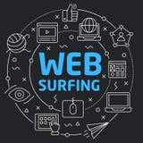 Czarnego Kreskowego Płaskiego okręgu sieci ilustracyjny surfing Obraz Stock