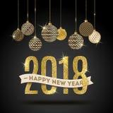 Czarnego ` n ` koloru nowego roku powitania złocista 2018 ilustracja ilustracja wektor