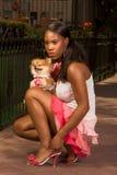 czarnego psa spitz kucania pomeranian kobieta Obraz Royalty Free