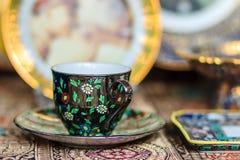 Czarnego rocznika porcelany Thai stylowy teacup, filiżanka handmade Zdjęcie Stock