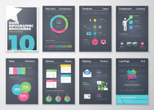 Czarnego tła infographic broszurki i płaski kolorowy styl Zdjęcie Royalty Free