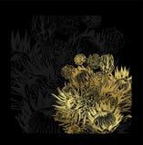 Czarnego złoto karty tła kwiecisty tło elegancki royalty ilustracja