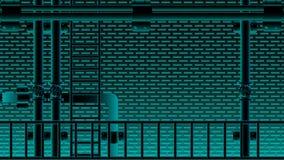 Czarnej ściany z cegieł i wodnej drymby schodowego neno błękitny oświetlenie mruga Wektorowa ilustracja EPS10 royalty ilustracja