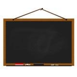 Czarnej chalkboard drewna ramy linowy obwieszenie na gwoździu royalty ilustracja