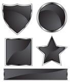 czarnej chrom ikony ustalony kształt Obrazy Stock