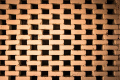 Czarnej dziury i czerwieni ściana z cegieł tekstura i tło Zdjęcie Stock