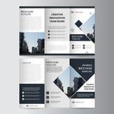 Czarnej eleganci ulotki broszurki ulotki biznesowy trifold szablon ilustracja wektor