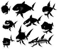 Czarnej graficznej sylwetki potwora chłodno ryba na białym tle ilustracji