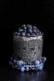 Czarnej jagody chia pudding Obrazy Royalty Free