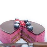 Czarnej jagody i malinki mousse tortowy deser Zdjęcia Royalty Free