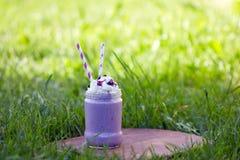 Czarnej jagody milkshake Smoothie w szklanym słoju dekorował z batożącą śmietanką Zdjęcie Royalty Free
