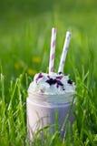 Czarnej jagody milkshake Smoothie w szklanym słoju dekorował z batożącą śmietanką Zdjęcia Stock