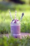 Czarnej jagody milkshake Smoothie w szklanym słoju dekorował z batożącą śmietanką Zdjęcia Royalty Free