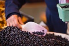 Czarnej jagody sprzedawanie w rynku Zdjęcie Royalty Free