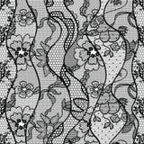 Czarnej koronkowej wektorowej tkaniny bezszwowy wzór Obraz Stock