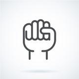 Czarnej płaskiej ikona gesta ręki ludzka pięść wierzchołek ilustracja wektor