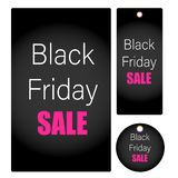 Czarnej Piątek sprzedaży wektorowe metki dla dyskontowych promocj z projektami odizolowywającymi w białym tle obrazy royalty free