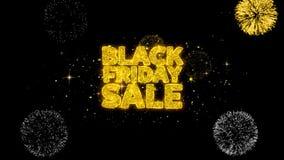 Czarnej Piątek sprzedaży złoty tekst mruga cząsteczki z złotym fajerwerku pokazem