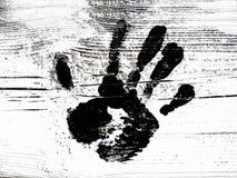 Czarnej ręki druk malujący Fotografia Royalty Free