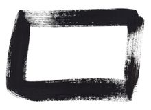 Czarnej ręki farby prostokąta rama Obrazy Stock