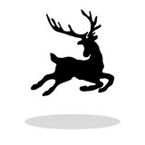 Czarnej sylwetki Bożenarodzeniowy Reniferowy biały tło Obraz Royalty Free
